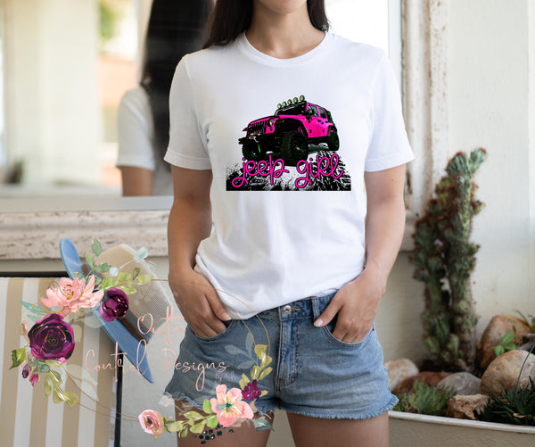 Jeep Girl Pink Ready To Press Sublimation Transfer