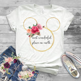 Mickey Mouse Head Gold with Floral