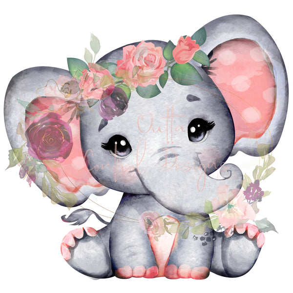 Peace Elephant with Flowers Ready To Press Sublimation Transfer