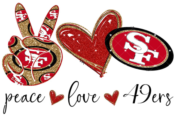 Peace Love 49ers Gold Ready To Press Sublimation Transfer