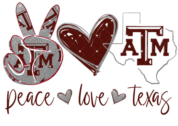Peace Love ATM Texas Ready To Press Sublimation Transfer