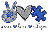 Peace Love Autism 2 Ready To Press Sublimation Transfer