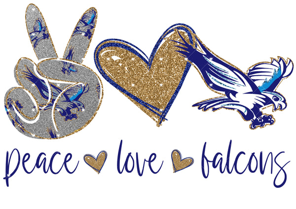 Peace Love falcons Ready To Press Sublimation Transfer
