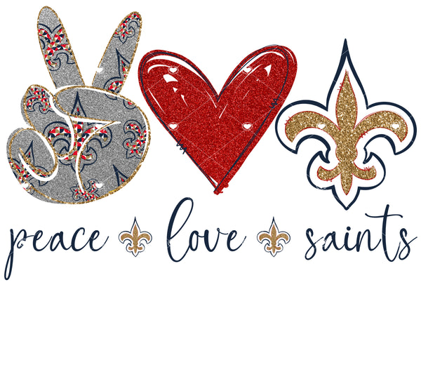 Peace Love Saints Red Gold Navy Ready To Press Sublimation Transfer