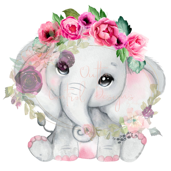 Pink Elephant with Flowers Ready To Press Sublimation Transfer