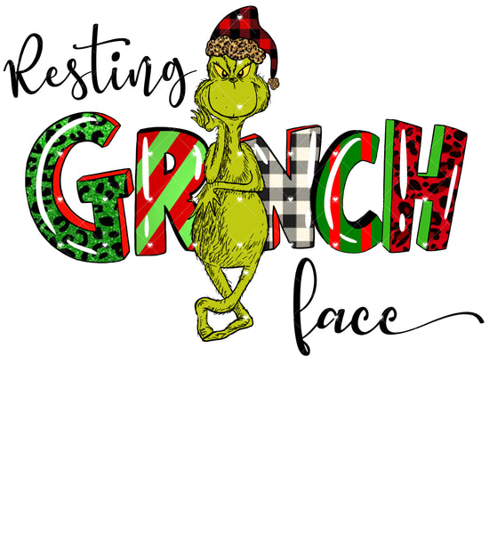 Resting Grinch Face Ready To Press Sublimation Transfer