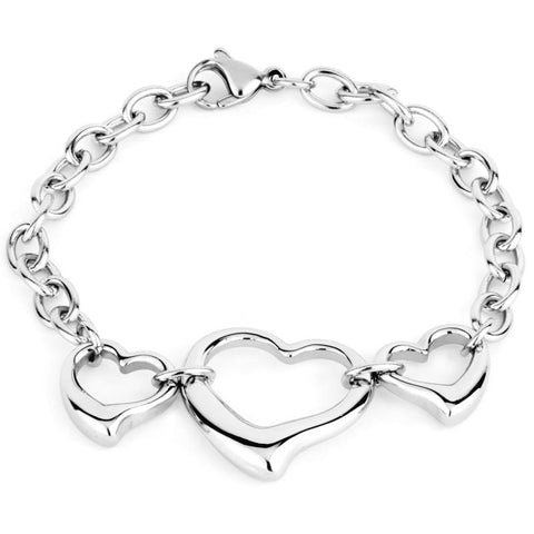 3 Open Hearts Stainless Steel Charm Bracelet