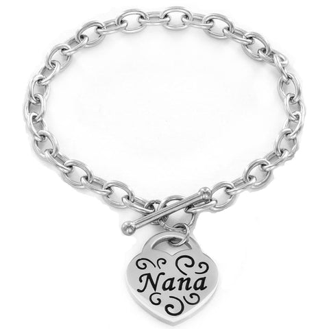 Family Engraved Heart Charm Bracelet (5 Designs)