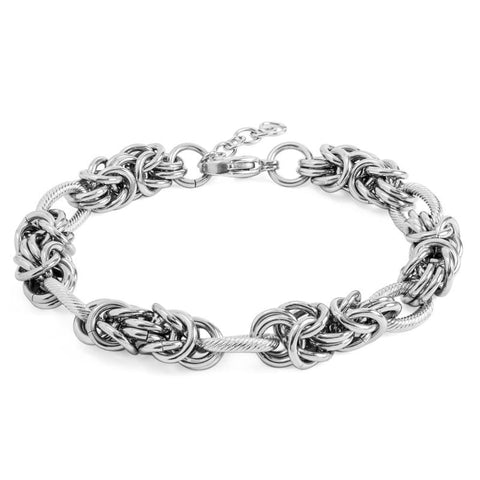 Polished Link & Byzantine Chain Stainless Steel Bracelet