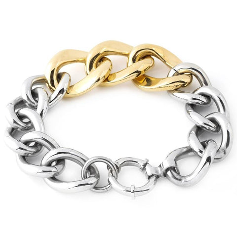 Polished Curb Chain Two-Tone Bracelet