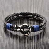Polished Steel Hook Clasp Leather Bracelet