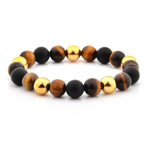 Stone Bracelet - Tiger's Eye, Matte Onyx, & Gold Plated Stainless Steel