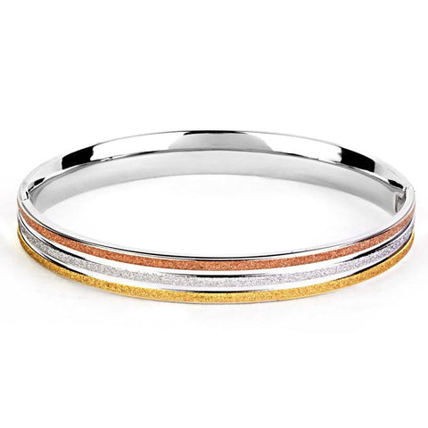 Sandblasted Tri-Color Stainless Steel Bangle Bracelet
