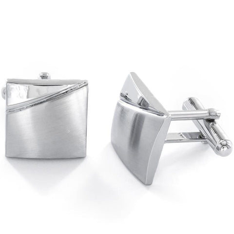 Brushed & Polished Men's Cuff Links