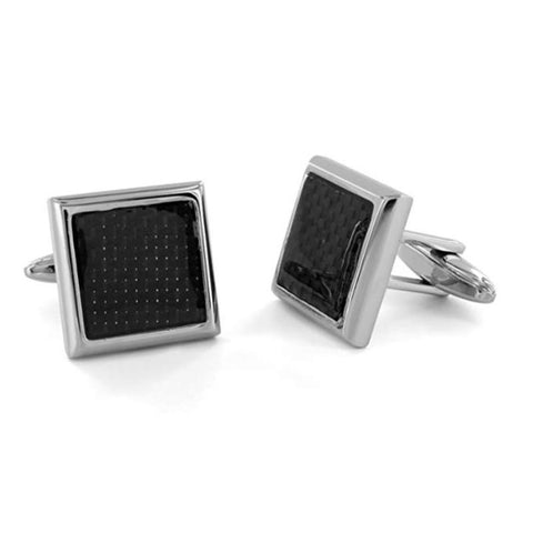 Stainless Steel Carbon Fiber Inlay Cuff Links