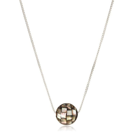 Stainless Steel Rondure Pendant Necklace (Abalone Shell or Mother of Pearl)
