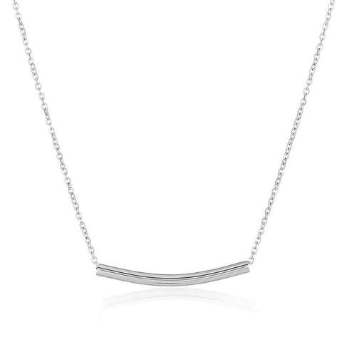 Dainty Curbed Cylinder Bar Stainless Steel Necklace