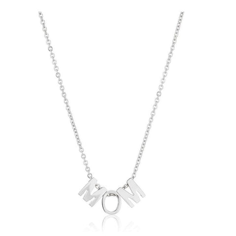 18k 'MOM' Pendant Stainless Steel Necklace