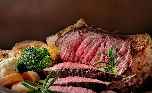 Sliced beef and sides
