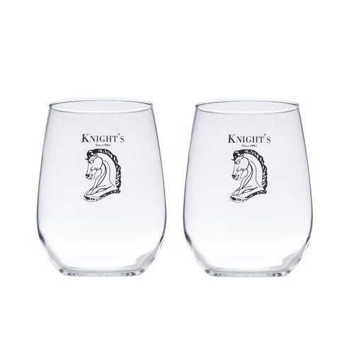 Set of 2 Knight's 17 Oz. Stemless Wine Glass