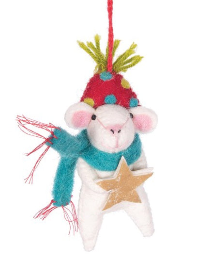 Mouse with Star and Scarf Ornament