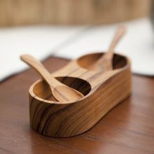 Load image into Gallery viewer, Teak Salt & Pepper Cellar with Spoons