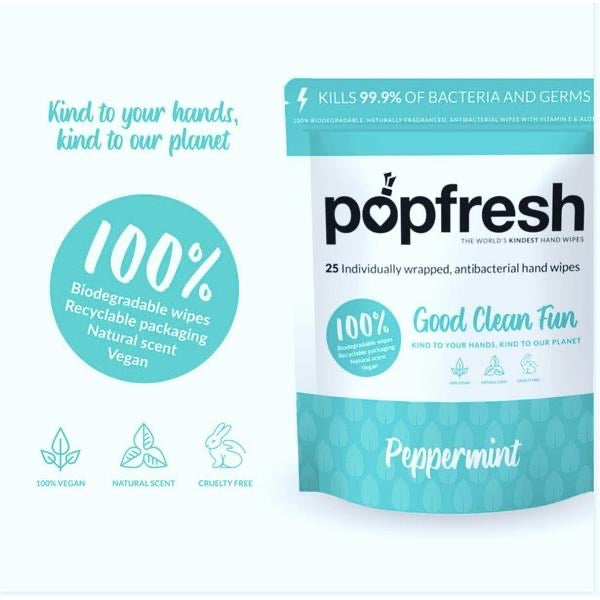 popfresh Peppermint Hand Wipes