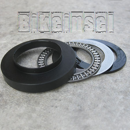 Sugarless rear shock axial bearings