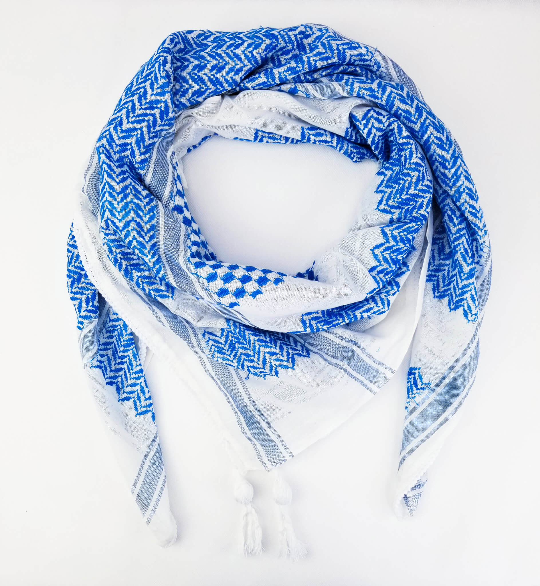 Hirbawi Keffiyeh Scarf Made in Palestine - the Blue and White Shemagh