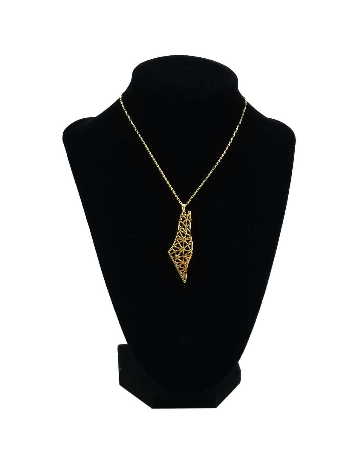 Gold Palestine Map Necklace