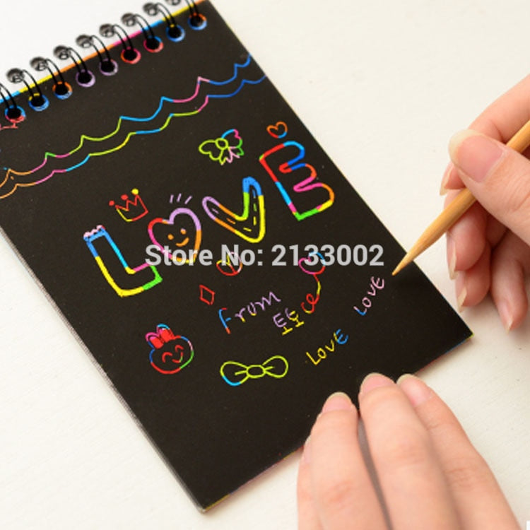Hot Magic Drawing Book DIY Scratch Notebook Black Cardboard As Gift For Kids Stationery School Supplies