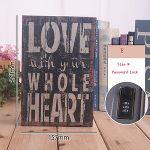 Size M Password Locker Safe Box Money Storage box Hidden Secret Safe Steel Simulation Classic Book Style Key Safe Box Piggy Bank