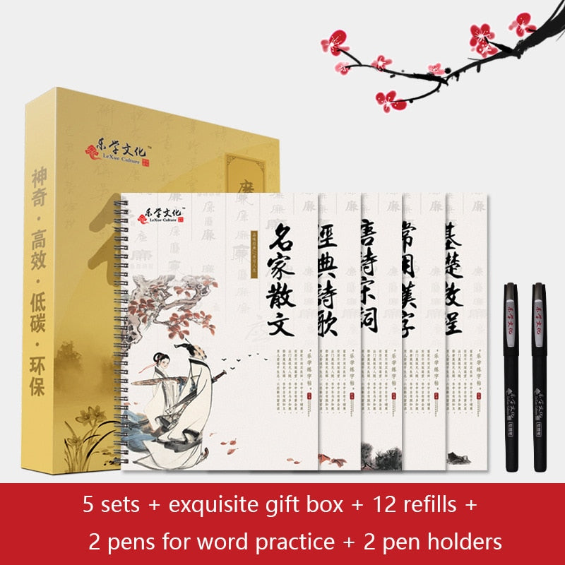5Books 3D Calligraphy Chinese Characters Reusable Groove Calligraphy Copybook Erasable pen Learn hanzi Adults Art Writing Books