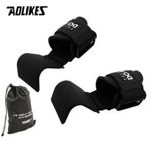 AOLIKES Weight Lifting-Hook Hand-Bar Wrist Straps Glove Weightlifting Strength Training Gym Fitness Hook Weight Lifting Gloves