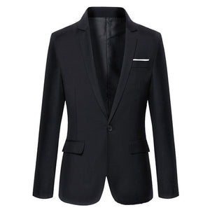 Mens Korean slim fit blazer masculino cotton blazer Suit Office Jacket black blue  plus size Male blazers Mens coat Wedding