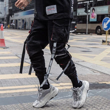 Load image into Gallery viewer, Men Hip Hop Black Cargo Pants joggers Sweatpants Overalls Men Ribbons Streetwear Harem Pants Women Fashions Trousers