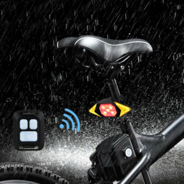 LED Wireless Remote Direction Indicator Bicycle Rear Taillight USB Rechargeable Cycling Bike Safety Warning Turn Signals Light