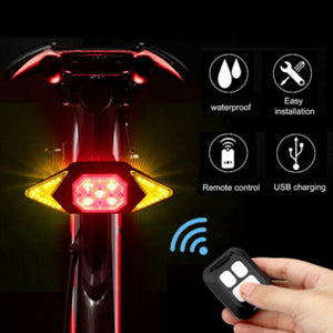 Wireless Remote Bicycle LED Light USB Indicator Bike Rear MTB Tail Laser Turn Signal Rainproof Lamp Cycling Safety Warning Light