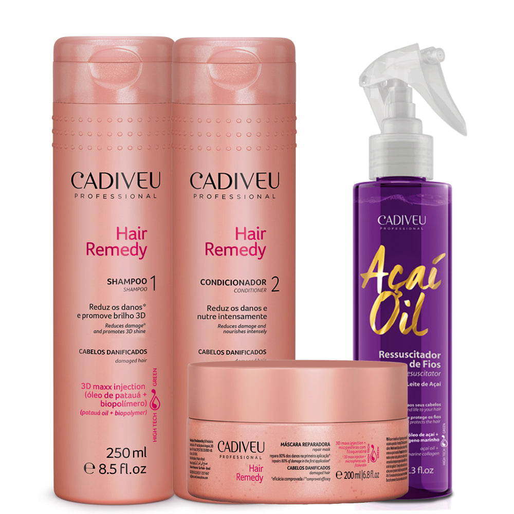 Cadiveu Hair Remedy Kit + Acai Milk Thermoactive Leave-in