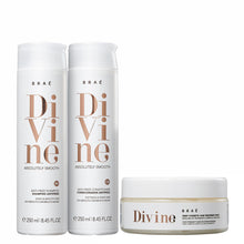 Load image into Gallery viewer, Braé Divine Absolutely Smooth Shampoo, Conditioner and Mask & Liquid Hair Mask Kit