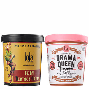 Lola Cosmetics Drama Queen Pimenta Rosa Anti Frizz Hair Mask & Vintage Girls Smoothing Cream Kit