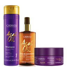 Load image into Gallery viewer, Cadiveu Açaí Oil Kit Home Care Volume Control and Frizz Combat
