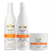 Load image into Gallery viewer, Alfapar Kit Yellow Repair  Almond Proteins & Cacao Shampoo, Conditioner and Mask