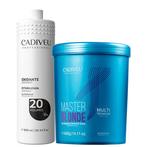 Kit Cadiveu Pó Descolorante Azul Master Blond Multi + Ox 20