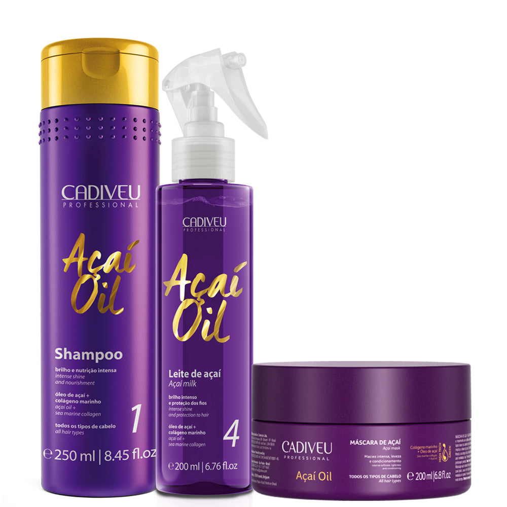 Cadiveu Açaí Oil Kit Hair Maintenance and Hydration 3Un
