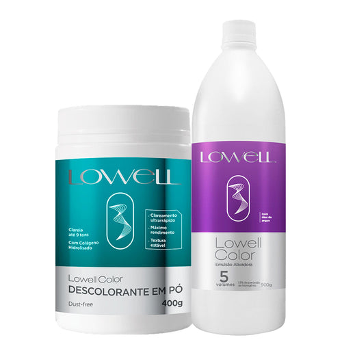 Lowell Color Bleaching Powder + Activating Emulsion Kit 5 Vol.