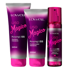 Load image into Gallery viewer, Lowell Liso Mágico Kit Shampoo + Conditioner + Fluid Thermo Activated