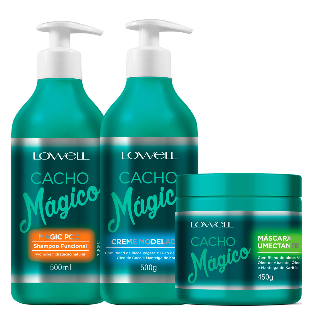Lowell Cacho Mágico Shampoo, Modeler Cream and Humectant Mask