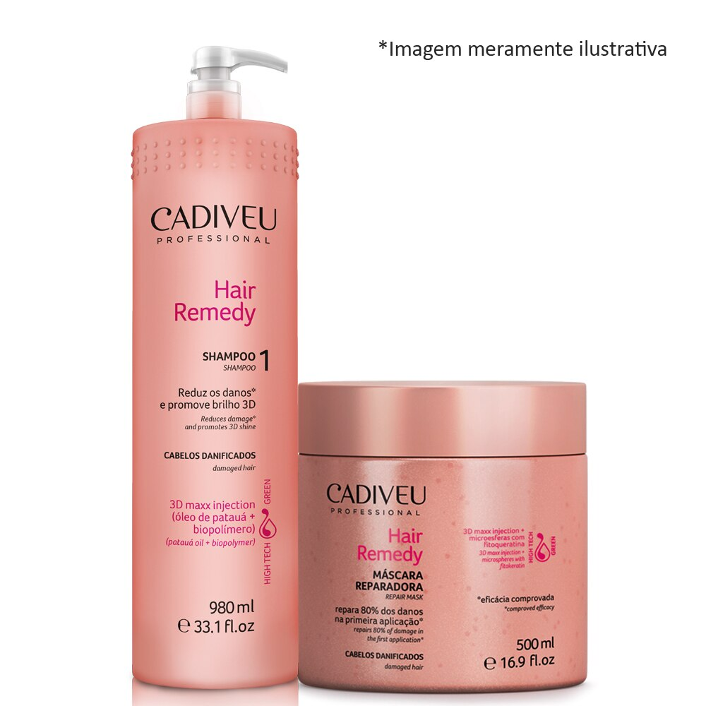 Cadiveu Hair Remedy Shampoo Backwash 980ml +  Mask 500ml