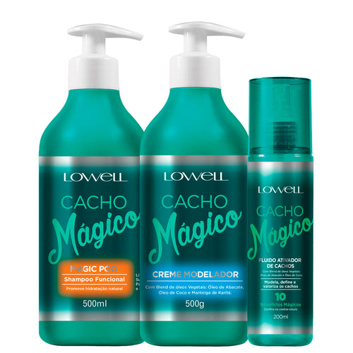 Lowell Cacho Mágico Shampoo + Modeling Cream + Fluid Kit